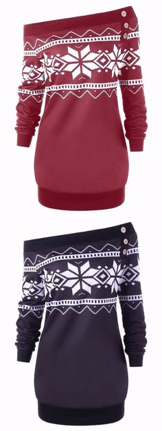 Plus Size Skew Neck Snowflake Geometric Pullover Sweatshirt