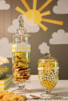 You Are My Sunshine Party - love all the yellow and white ideas