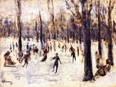 """""""Skaters in the Tiergarten,"""" Max Liebermann, 1923, oil on panel, 11.81 x 15.75"""", private collection."""