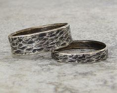Silver Wedding Bands Distressed Bark Wedding Rings Wedding Band Set Rustic Wedding Rings