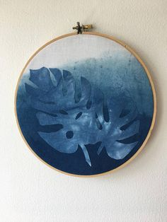 Monstera // All natural indigo dye // Monstera leaf print // Wooden hoop // 8 in diameter, .5 thick Check out more vintage and handmade goods at www.oaklandabode.com. Happy to combine orders for cheaper shipping.