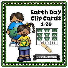 Earth DayEarth Day Math Clip Cards for counting and matching sets of 1-20 objects with a fun theme. Reinforce concepts about Earth Day and practice counting at the same time.  Use for partner work or individual work or set up a special Earth Day Center!To assemble this Earth Day product, simply print, laminate if desired and add clothespins or paper clips.