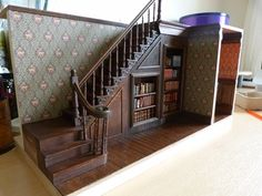 The staircase containing the secret passage in my Arsenic and Old Lace room box.