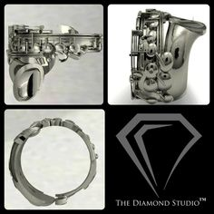 Saxophone sterling silver band ring,music band ring - ASHYL.COM