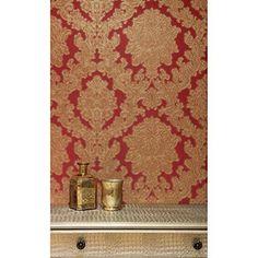 Arthouse Vintage Vicenza Damask Floral Glitter Textured Vinyl Wallpaper (Red 270404): Amazon.co.uk: Kitchen & Home