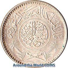 Saudi Arabia AH 1374 AD 1954 Silver Coin One 1//4 Riyal