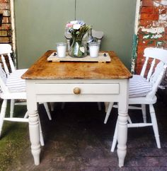Gorgeous original antique barn find reclaimed country cream 4 seater dining table by Theoldsummerhouse on Etsy