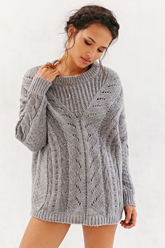 Ecote Madison Sweater in Grey, $79 now $30 | Urban Outfitters
