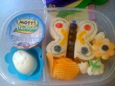 Bento Lunch Ideas for Kids  *Love the grapes for the butterfly sandwich