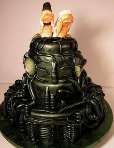Alien themed Wedding Cake by Jet City Cakes