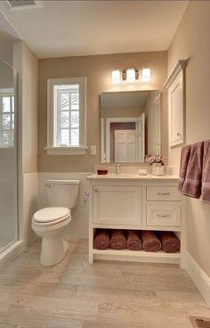 storage ideas bathroom vanity cabinet Small Basement Bathroom, Warm Bathroom, Small Bathroom Vanities, Bathroom Design Small, Bathroom Layout, Bathroom Storage, Modern Bathroom, Bathroom Ideas, Master Bathrooms