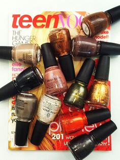 All twelve polishes in China Glaze's new 'Hunger Games' nail collection.