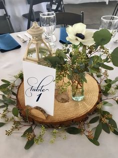 Table Scape with Anenome and Eucalyptus | GALLERY Centerpieces, Table Decorations, Rustic Table, Wood Slices, Bud Vases, Floral Wedding, Tablescapes, Photo Galleries, Floral Design