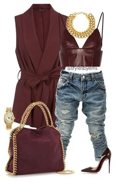 """Untitled #419"" by emsdash ❤ liked on Polyvore featuring BBon-J, STELLA McCARTNEY, T By Alexander Wang, A.V. Max, Christian Louboutin and Rolex"