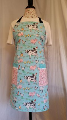 Adorable barnyard animal print with black ties adjustable apron, full-length apron, utility apron, multi-purpose apron, full apron Black Ties, Work Aprons, Gardening Apron, Barnyard Animals, Body Types, Purpose, Super Cute, Couture, Female