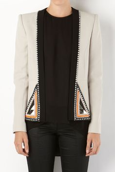 MIGHTY OAKS - embellished jacket. Lined tailored jacket with inbuilt shoulder bands. jacket features a contrasting neck bang and front hem embellishments.    sass & bide $690.00