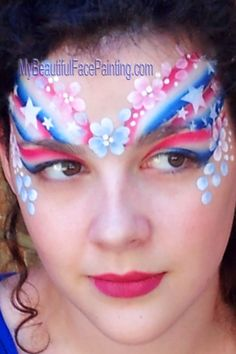 Independence day, of July face paint. Red, white and blue crown with flowers. Face Painting Images, Face Painting Tips, Adult Face Painting, Face Painting Designs, Body Painting, Face Paintings, Cool Face Paint, Airbrush Makeup, Face Design