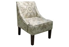 Quinn Swoop-Arm Chair, Slate on OneKingsLane.com
