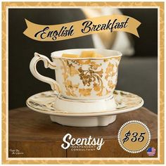 English Breakfast Scentsy Warmer- Tea time, any time. English Breakfast keeps the trend towards elegant with ornate detailing and a regal air. 35.00 #Scentsy #Breakfast #Vintage
