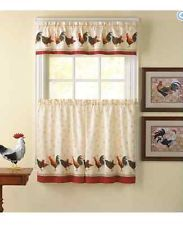 Morning Rooster Tier Curtain Panel Set Kitchen Window Treatment Home Decor New