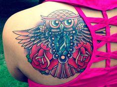 Owl tattoo by Nick Peirce at Golden Lotus Tattoo