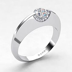 Danhov 14k Gold Cubic Zirconia and 1/10ct TDW Diamond Engagement ...