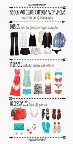 """The Litter Box: Beach Vacation Capsule Wardrobe--- Es una idea. Habria que ver sin cosas """"cortas"""" qué tal quedaría la maleta ;) #vacationbeach"""