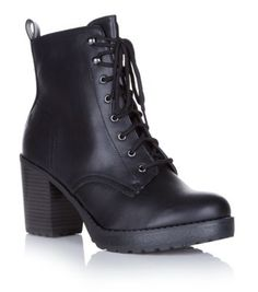 Black Chunky Lace Up Heeled Work Boots. Desperate for these bad boys. DROOOOOOOOL.
