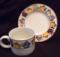 Mary Engelbreit Afternoon Tea Sakura Cup Mug Saucer Set Teapot Whimsy Coffee