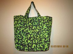 """Special Sale 25% Off: Extra Large Durable 14"""" Grocery Shopper Tote Bag Green Flames by ShawnasSpecialties on Etsy"""