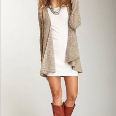 cute for fall. boots, dress and cardigan