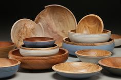Milk painted wood bowls by Mark Gardner, wood artist #accshow #accabaltimore