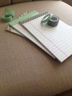 Perk up plain notepads with washi tape. #officesupplies