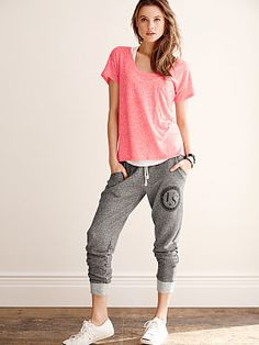 No more ugly elastic waist & ankle sweats. Love these sweats & tee VS PINK