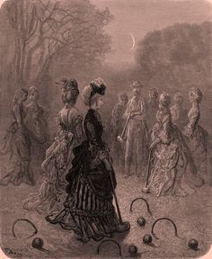 "London - Croquet, Engraving by Gustave Doré (""London, a Pilgrimage, by G. Doré and Blanchard Jerrold""), 1872."
