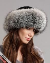 Silver Fox Fur Roller Hat with Mink Top