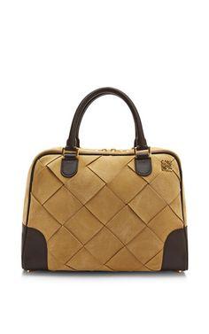 Large Gold Suede Amazona 75 Bag by Loewe