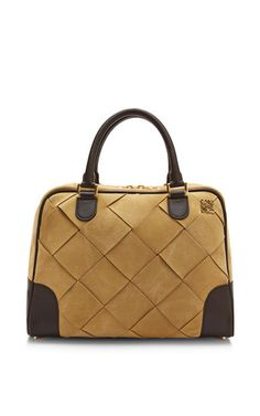 Large Gold Suede Amazona 75 Bag by Loewe