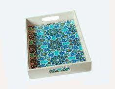 Persian Tile Design Tray blue Eslimi tile-ALANGOO