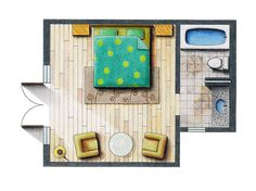 really lovely rendered floor plan.  hope to do this more in presentation.  would be helpful to see the walls too.