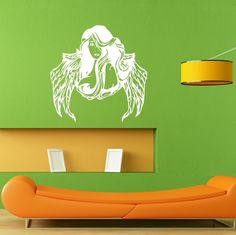Angel Wings Girl Woman Hair Style Salon Wall Decal Sticker Mural Decal L032 #3M