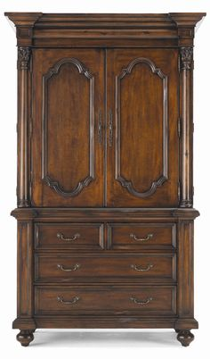 Beau Hickory White Tuscan Home French Door Storage Armoire   Hamilton Park  Interiors   Armoire Salt Lake