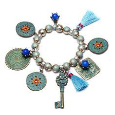 eManco Elastic-Weinlese-Troddel-Legierungs-Korn-Anhänger-Charme Runde Armbänder für Frauen (blau)