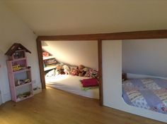Girl bedroom in the attic, reading nook under the roof and a place for a sleepover (designed by a little bit of drama)
