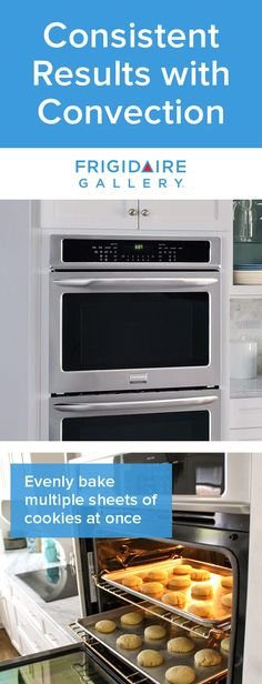 Bake cookies with more consistent results. The Frigidaire Gallery Double Wall Oven features convection technology that uses a fan to continually circulate air throughout the oven for consistently even dishes.