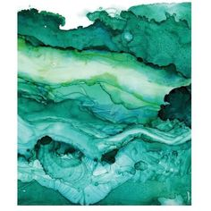 Undercurrent Emerald Ink Art Print, Ocean Art, Surf Watercolor,... ❤ liked on Polyvore featuring home, home decor, wall art, surf wall art, ocean paintings, surf home decor, sea home decor and surf paintings