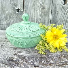 Mint Green Shabby Chic Covered Candy Dish by HuckleberryVntg,