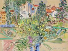 Raoul Dufy (French, 1877-1953), Bouquet de mimosas devant la fenêtre à Céret, 1940. Gouache and watercolour on paper, 50.4 x 66.5 cm.