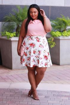 Plus Size Clothing for Women - A-Line Floral Skirt for Curves on a Budget - Society+ - Society Plus - Buy Online Now!