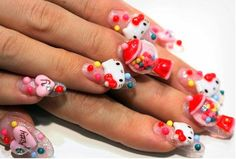 Nail art is very popular in teen girls these days and what better brand than Hello Kitty to become fashionable. Check out these cool ideas of Hello Kitty Nails 3d Nail Art, Jolie Nail Art, Crazy Nail Art, Pretty Nail Art, Cool Nail Art, Nail Art Designs, Crazy Nail Designs, Creative Nail Designs, Creative Nails